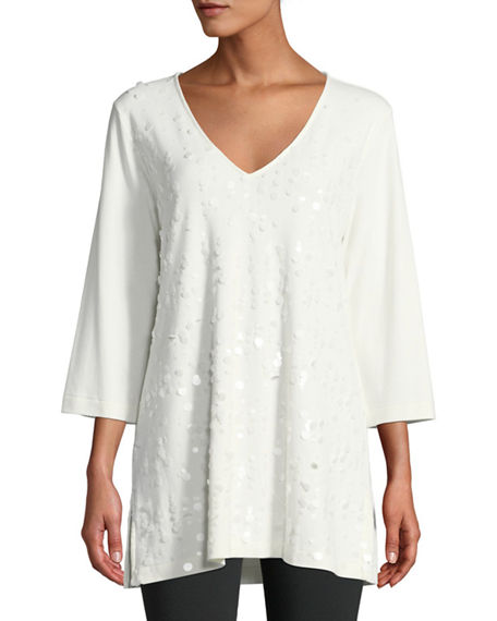 Joan Vass PLUS SIZE V-NECK 3/4-SLEEVE SEQUINED-FRONT COTTON INTERLOCK TUNIC