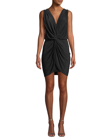 MISA Los Angeles Leza Gathered Sleeveless Crossover Dress