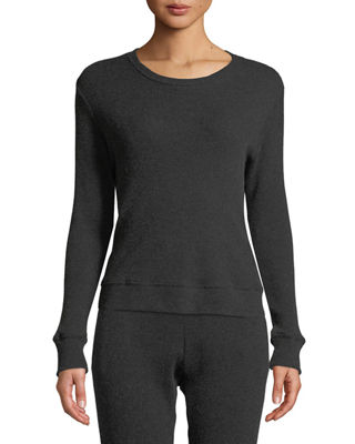 ENZA COSTA Cashmere Long-Sleeve Thermal Sweatshirt in Charcoal