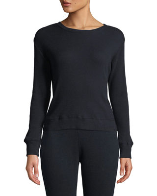 ENZA COSTA Cashmere Long-Sleeve Thermal Sweatshirt in Blue