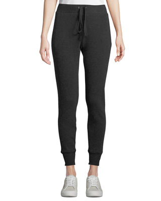 ENZA COSTA Cashmere Thermal Drawstring Jogger Pants in Charcoal
