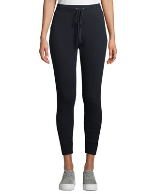 ENZA COSTA Cashmere Thermal Drawstring Jogger Pants in Blue