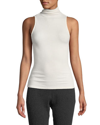 ENZA COSTA Ribbed Sleeveless Turtleneck Top in White