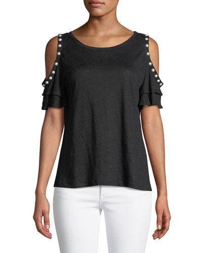 Luna Pearl-Embellished Cold-Shoulder Top