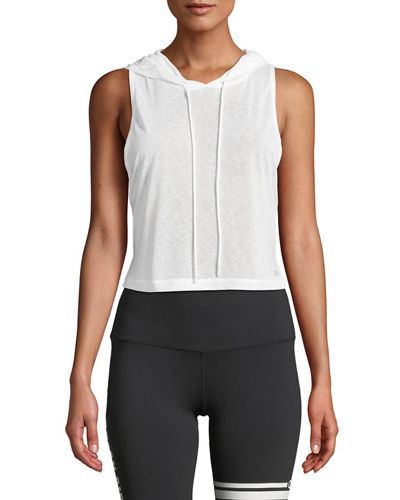 Arrow Sheer Crop Tank Hoodie