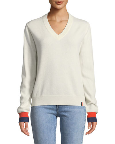 Sawyer V-Neck Cashmere Pullover Top