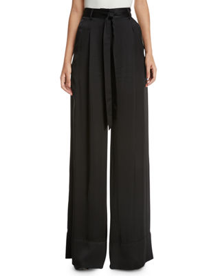 Josie Natori High-Waist Wide-Leg Satin Pants and Matching