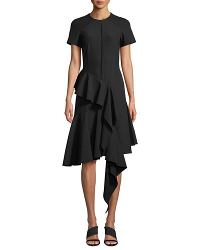 Short-Sleeve Jewel-Neck Asymmetric Ruffle Bi-stretch Dress