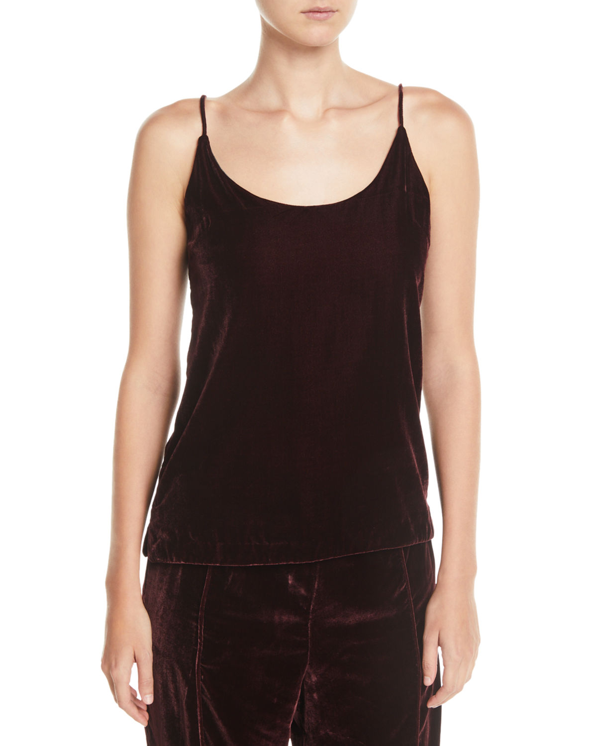 a8a6d1d9398c38 7 for all mankind Velvet Scoop-Neck Cami Top