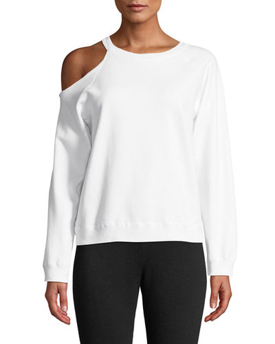 Cutout-Shoulder Crewneck Cotton Sweatshirt