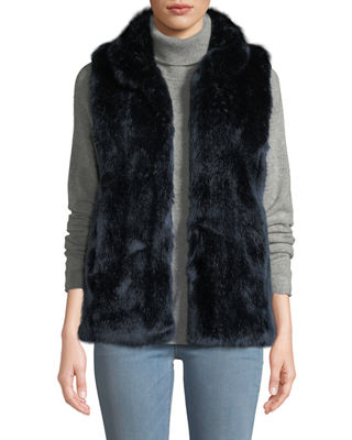 FABULOUS FURS Couture Faux-Fur Stand-Collar Vest in Steel Blue Mink