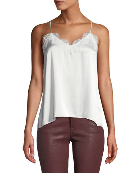 Image 1 of 2: Cami NYC The Racer Silk Charmeuse Camisole w/ Lace