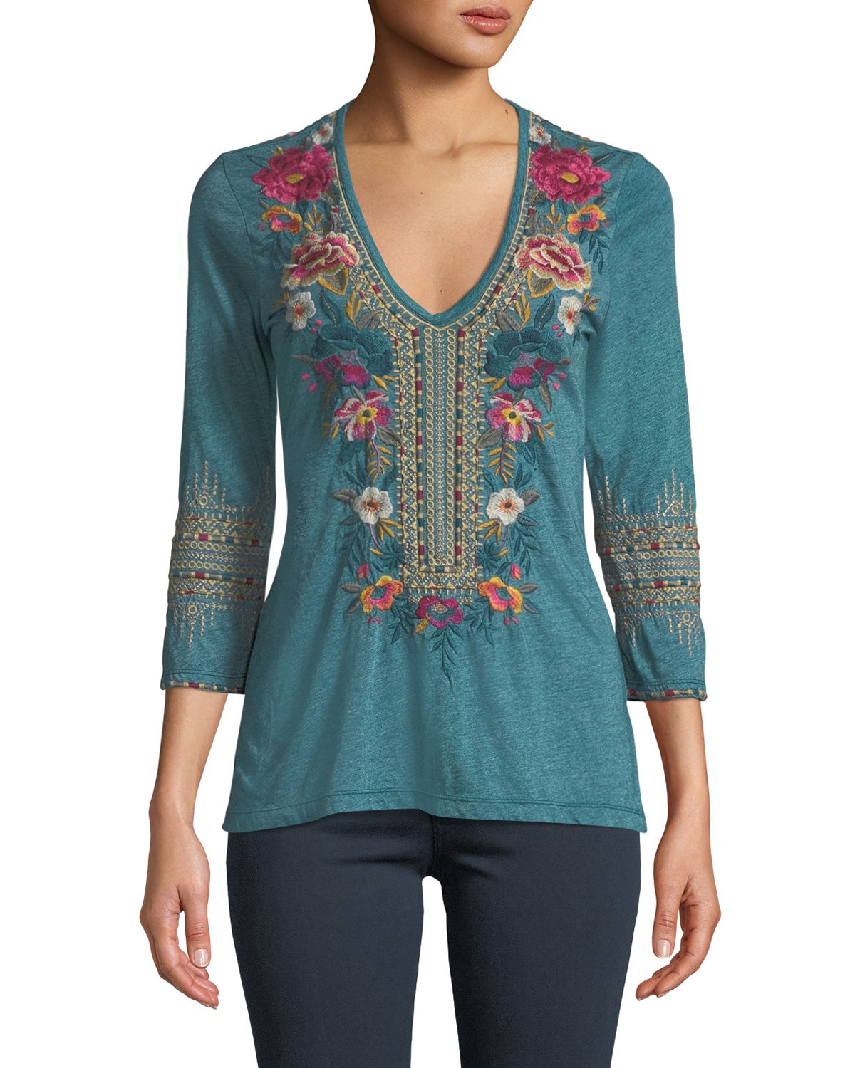 Katina 3/4-Sleeve Embroidered T-Shirt, Plus Size
