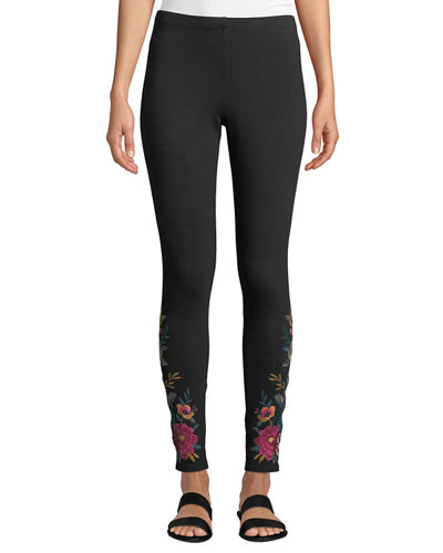 Katina Leggings w/ Floral Embroidery, Plus Size