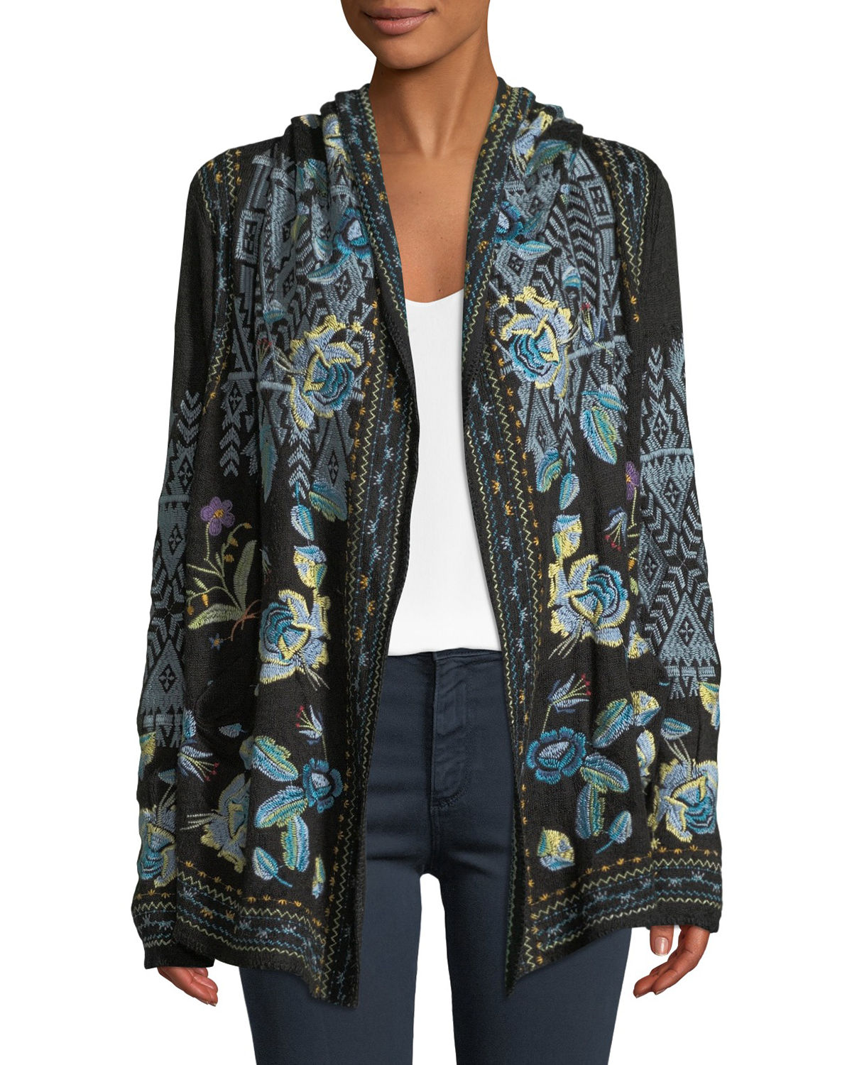 Beiro Hooded Floral-Embroidered Cardigan