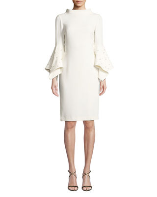Pearly Bell-Sleeve Sheath Dress in Ivory