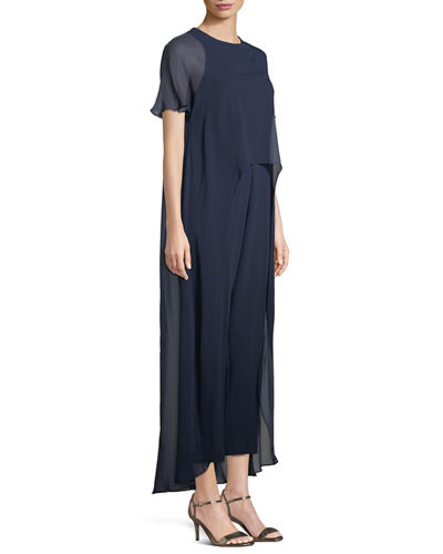 Capote Sheer Short-Sleeve Jumpsuit