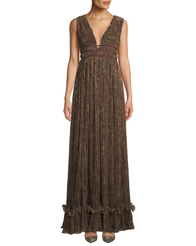 Ruth Pleated Metallic Gown