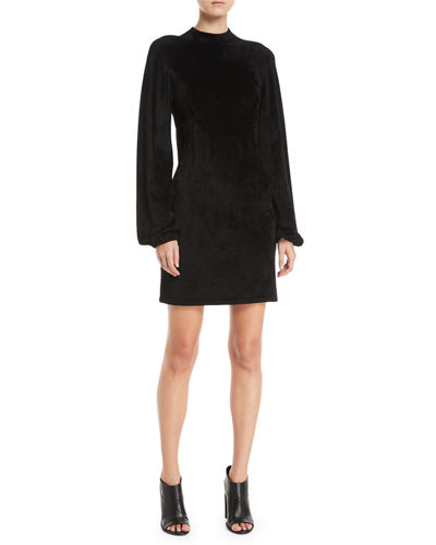 Nia Blouson-Sleeve Velour Mini Dress