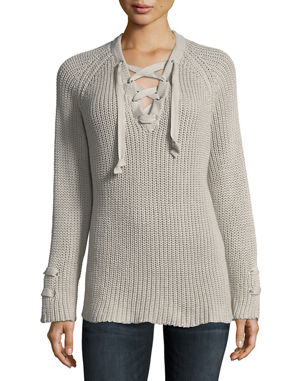 Pure   Co Petite Boundless Lace-Up Sweater 87b661d9d