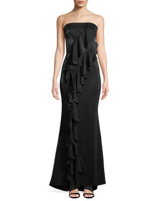 JAY X JAYGODFREY Steele Strapless Ruffle A-Line Evening Gown in Black