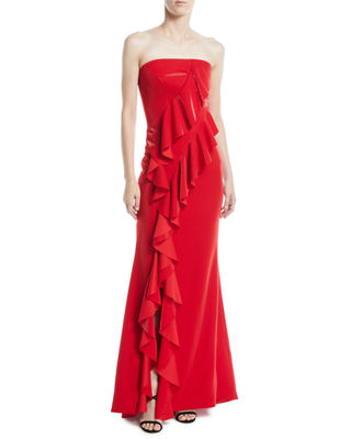 JAY X JAYGODFREY Steele Strapless Ruffle A-Line Evening Gown in Red