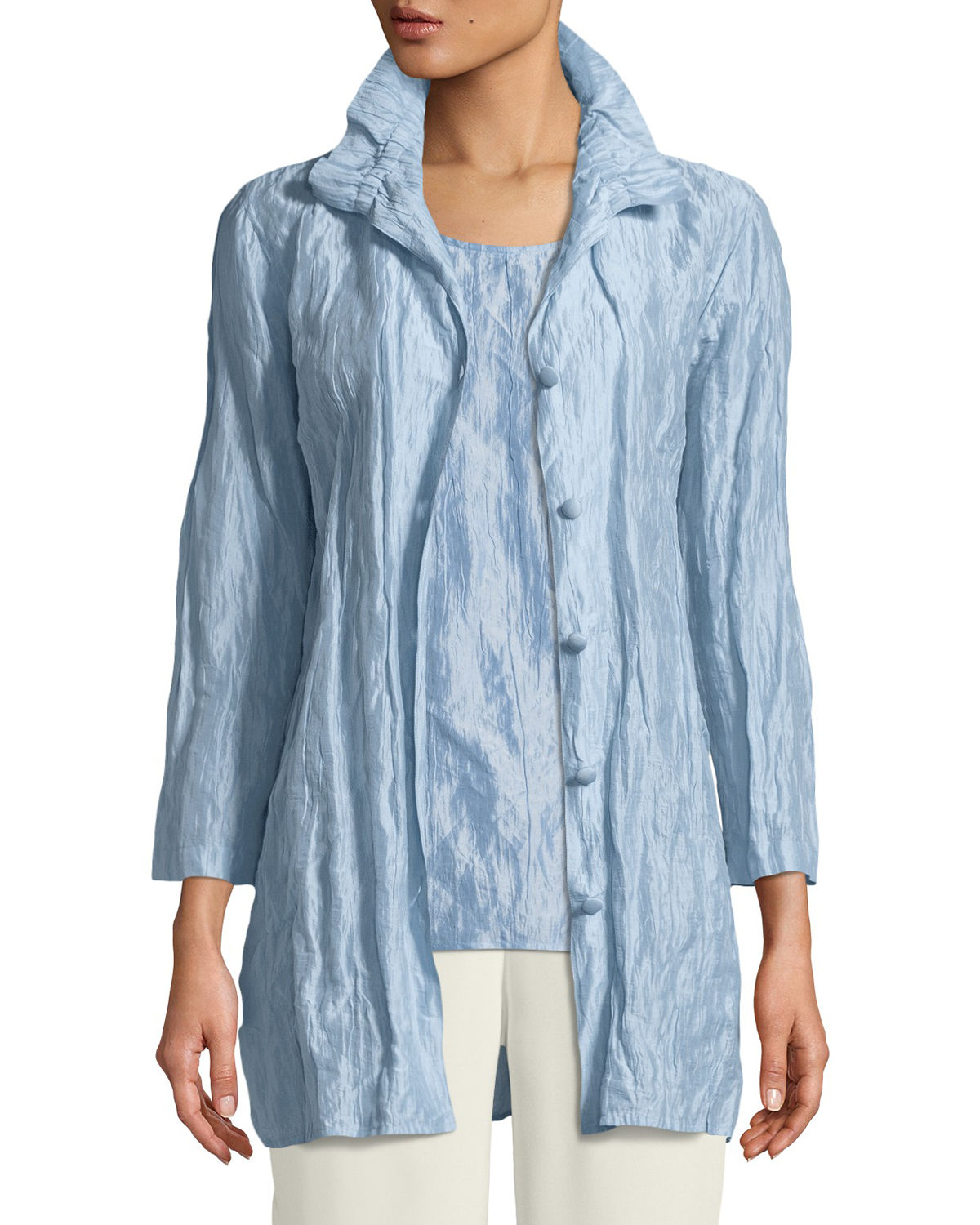 Ruched-Collar Crinkled Jacket, Plus Size
