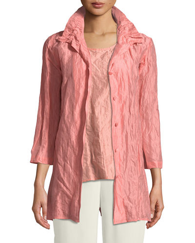 a41bf528ad6 Quick Look. Caroline Rose · Plus Size Ruched-Collar Crinkled Jacket