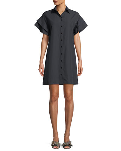 Butterfly Ruffle-Sleeve Camp Dress