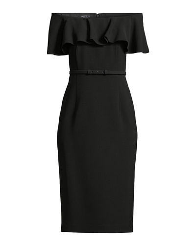 Diya Finesse Crepe Off-the-Shoulder Dress