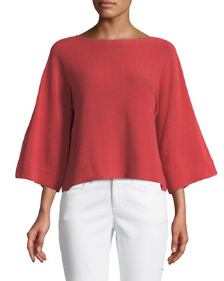 Eileen Fisher Bell-Sleeve Recycled Nylon Cord Sweater