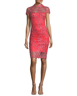 Tadashi Shoji Lace Appliqu?? Cap-Sleeve Cocktail Dress