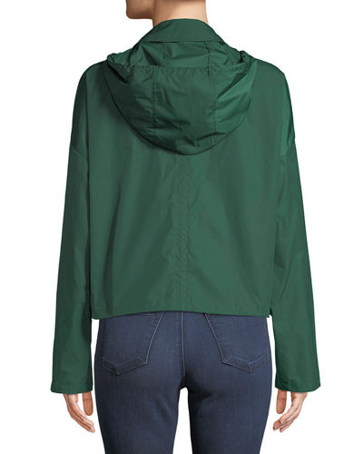 Zip-Front Cropped Active Twill Anorak Jacket