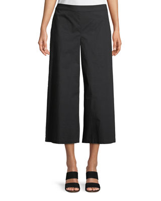 Eileen Fisher Organic Cotton Wide-Leg Cropped Pants, Petite