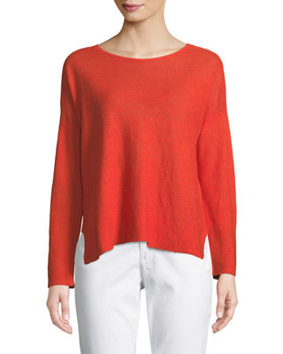Eileen Fisher Long-Sleeve Organic Linen Box Top