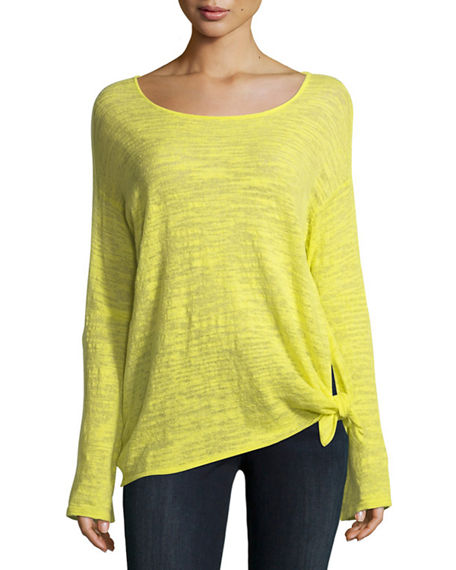 Minnie Rose KNOTTED LINEN-BLEND PULLOVER TOP, PLUS SIZE