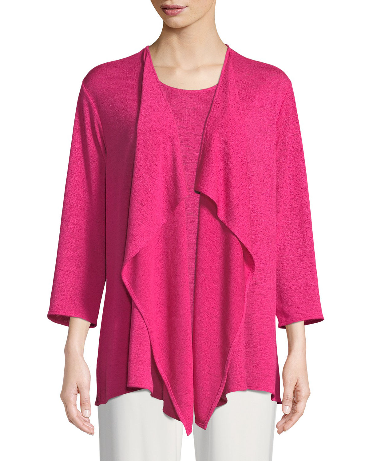 Gauze Knit Draped Cardigan, Plus Size