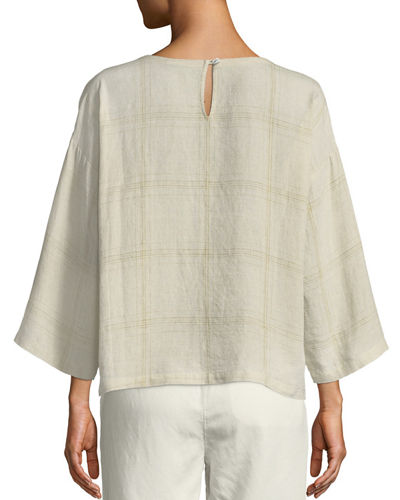 Organic Linen Multi-Plaid Top