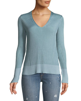 Rag & Bone Alyssa V-Neck Long-Sleeve Ribbed Sweater