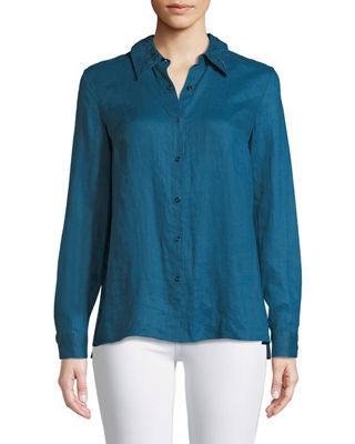 Elie Tahari Bowen Crinkle-Texture Blouse with Lace Back