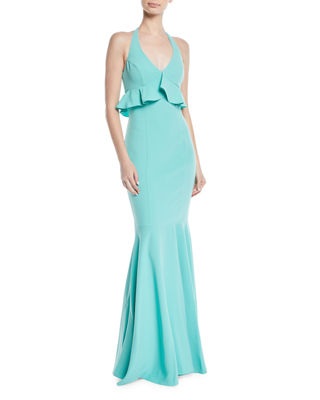 Likely Eden Halter Ruffle-Bodice Mermaid Gown