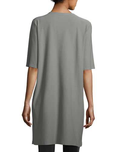 Half-Sleeve Crepe Shift Dress, Plus Size