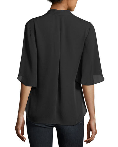Anella Silk V-Neck Blouse