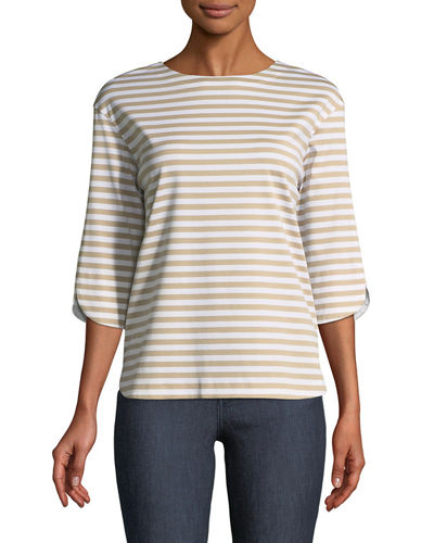 3/4-Sleeve Striped Jersey Tee