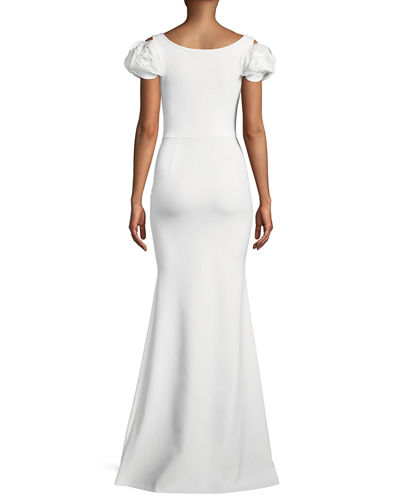 Merijeme Rose-Sleeve Mermaid Gown
