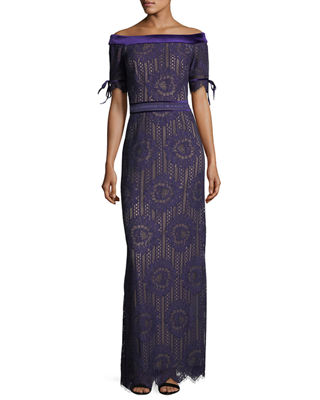 Tadashi Shoji Off-the-Shoulder Circular Lace Evening Gown