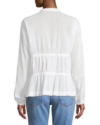 Split-Neck Long-Sleeve Cotton Blouse w/ Tie Detail