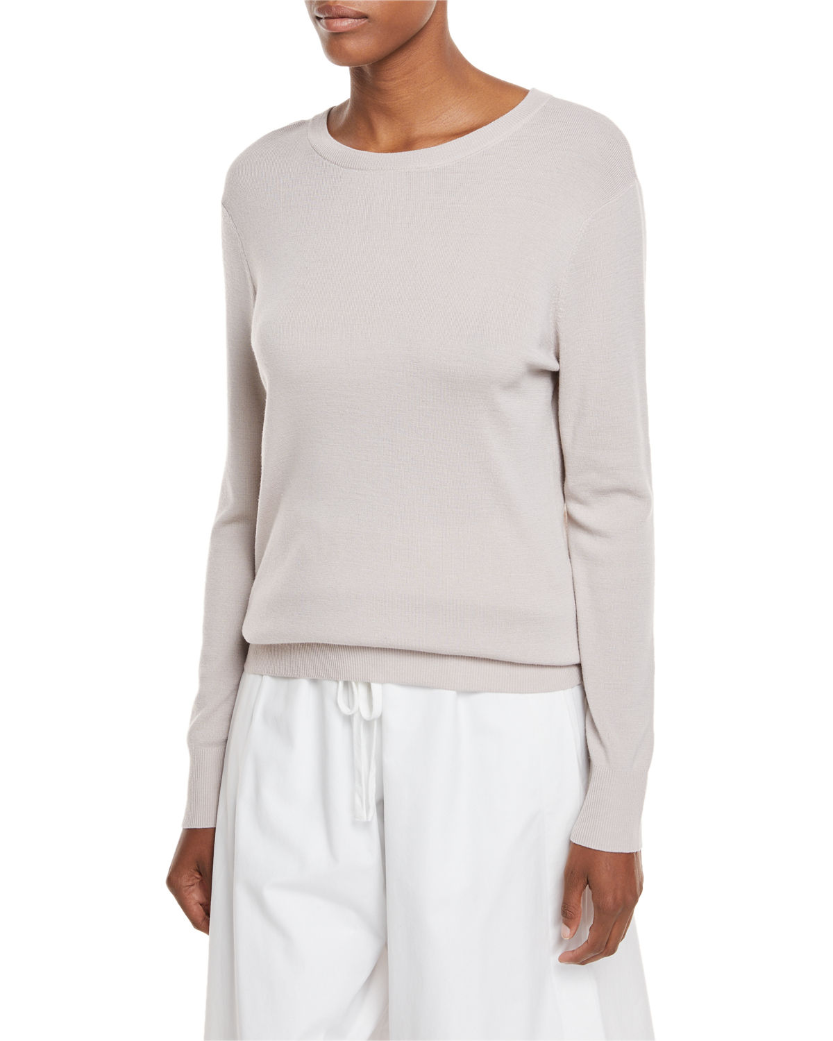 Slit-Back Long-Sleeve Merino Wool Sweater