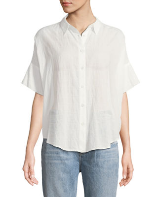 Rag & Bone Button-Front Short-Sleeve Tie Shirt