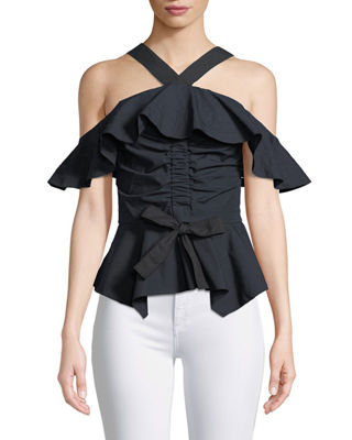 Derek Lam 10 Crosby Off-the-Shoulder Halter Ruffled Top